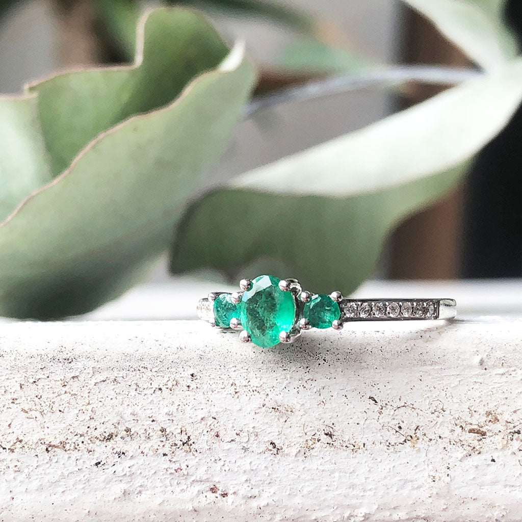 Delicate Trilogy Emerald and Diamond ring
