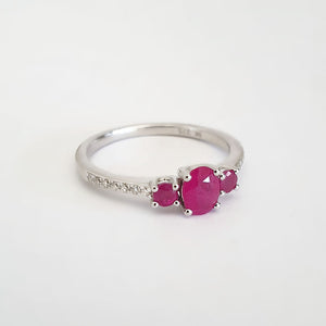 Delicate Trilogy Ruby and Diamond ring
