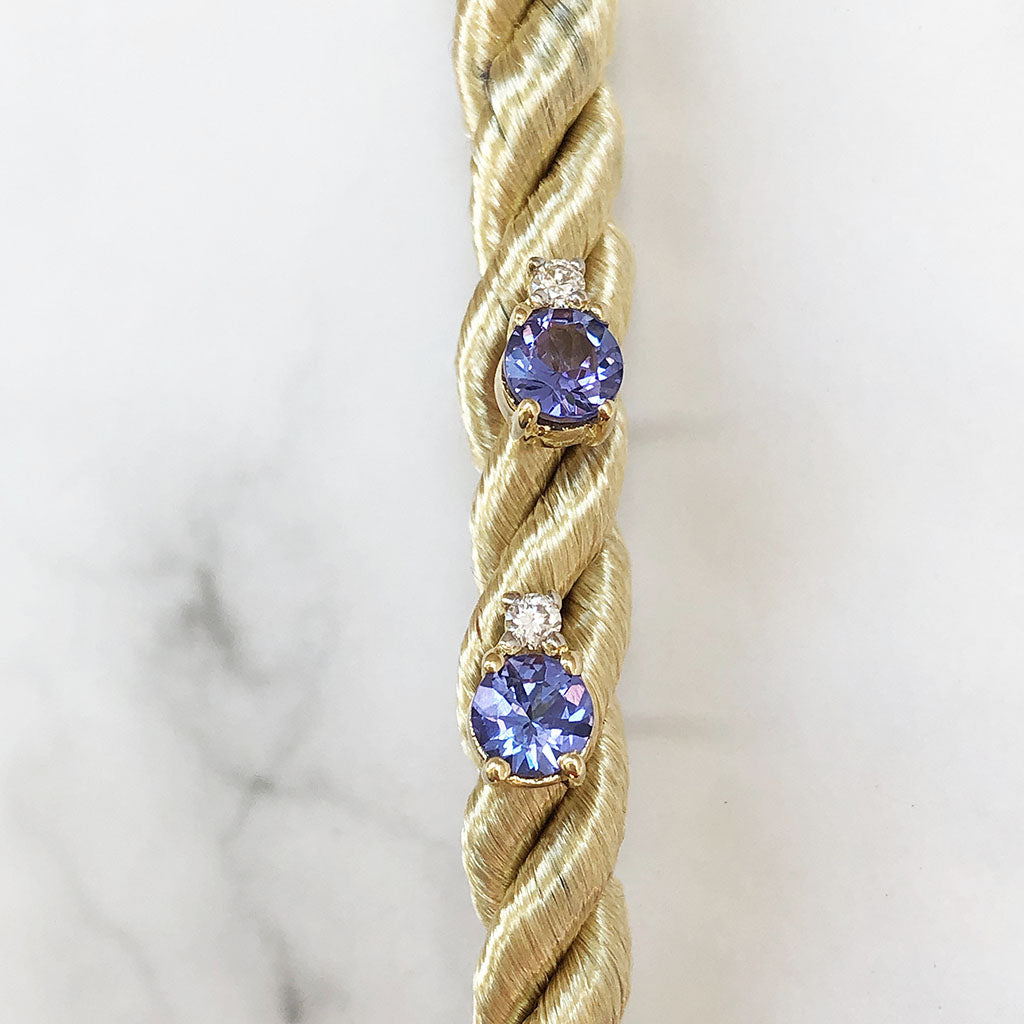 Delicate Yellow Gold Tanzanite and Diamond Studs
