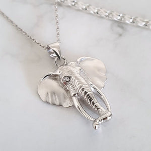 Detailed Silver Elephant Pendant and Chain