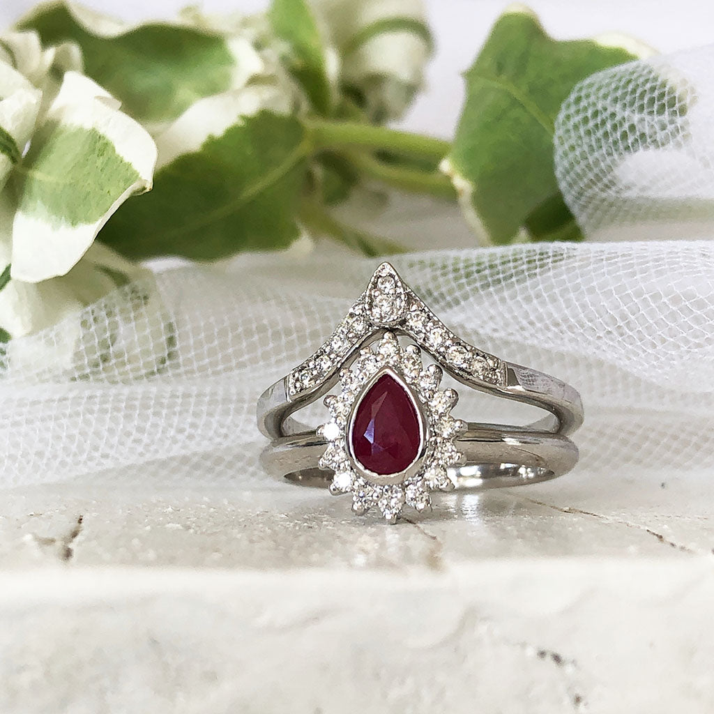 Diamond Halo Pear Cut Ruby with Pointed Diamond Band Wedding Set