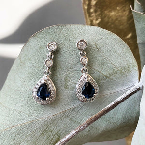 Diamond Halo Pear cut Sapphire Drop Earrings
