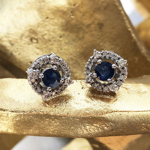 Diamond Halo Sapphire Earrings