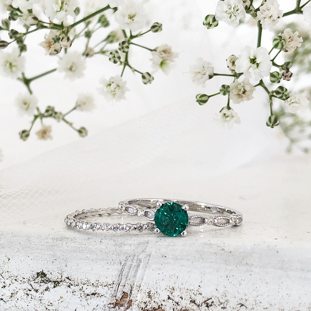 Diamond and Milgrain Hooped Emerald Engagement RIng and Diamond Eternity Wedding band