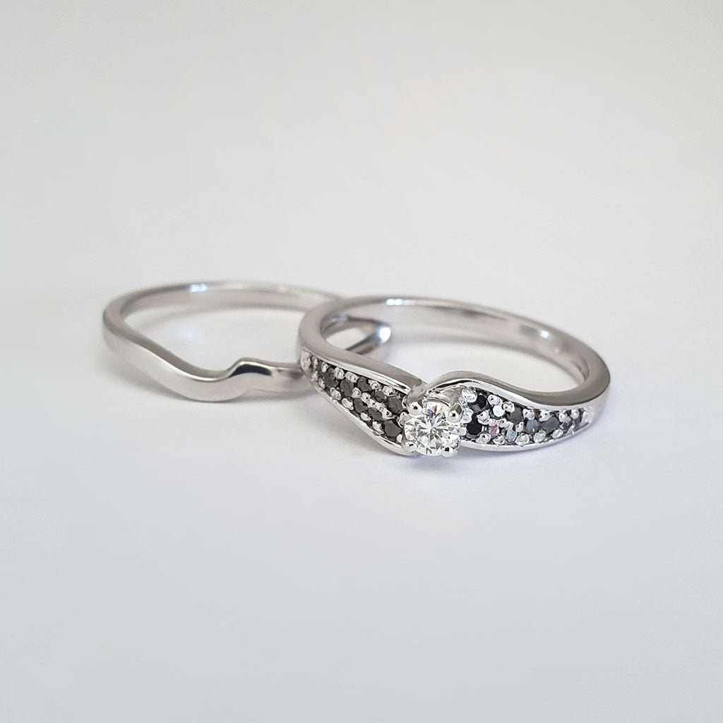 Double Black and White Diamond Shouldered Engagement band and White Gold Wedding Set