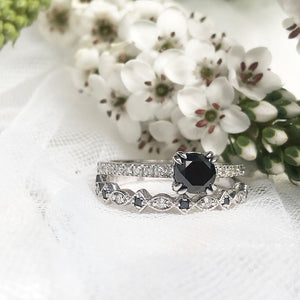 Double Claw Black Diamond with White Diamond Band Accent Engagement ring with Multi shape and Diamond  Wedding Band Set **
