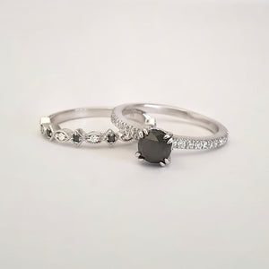 Double Claw Black White Diamond Band Accent Engagement ring with Multi Shape Diamond Wedding Band Set