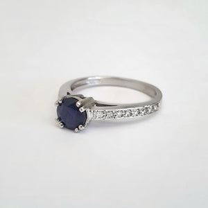 Double Claw Blue Sapphire Diamond Band Ring
