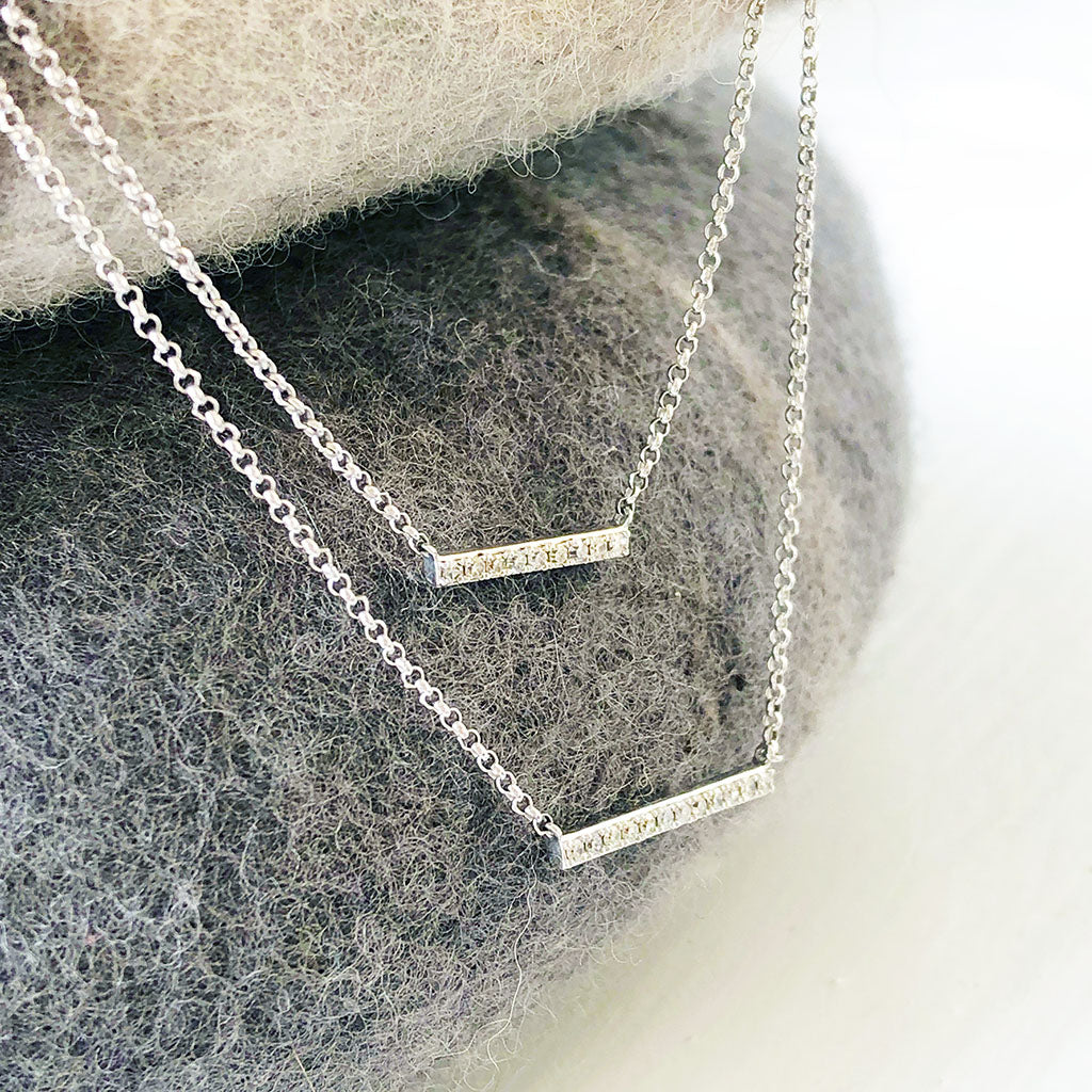 Double Diamond Bar and Chain Necklace
