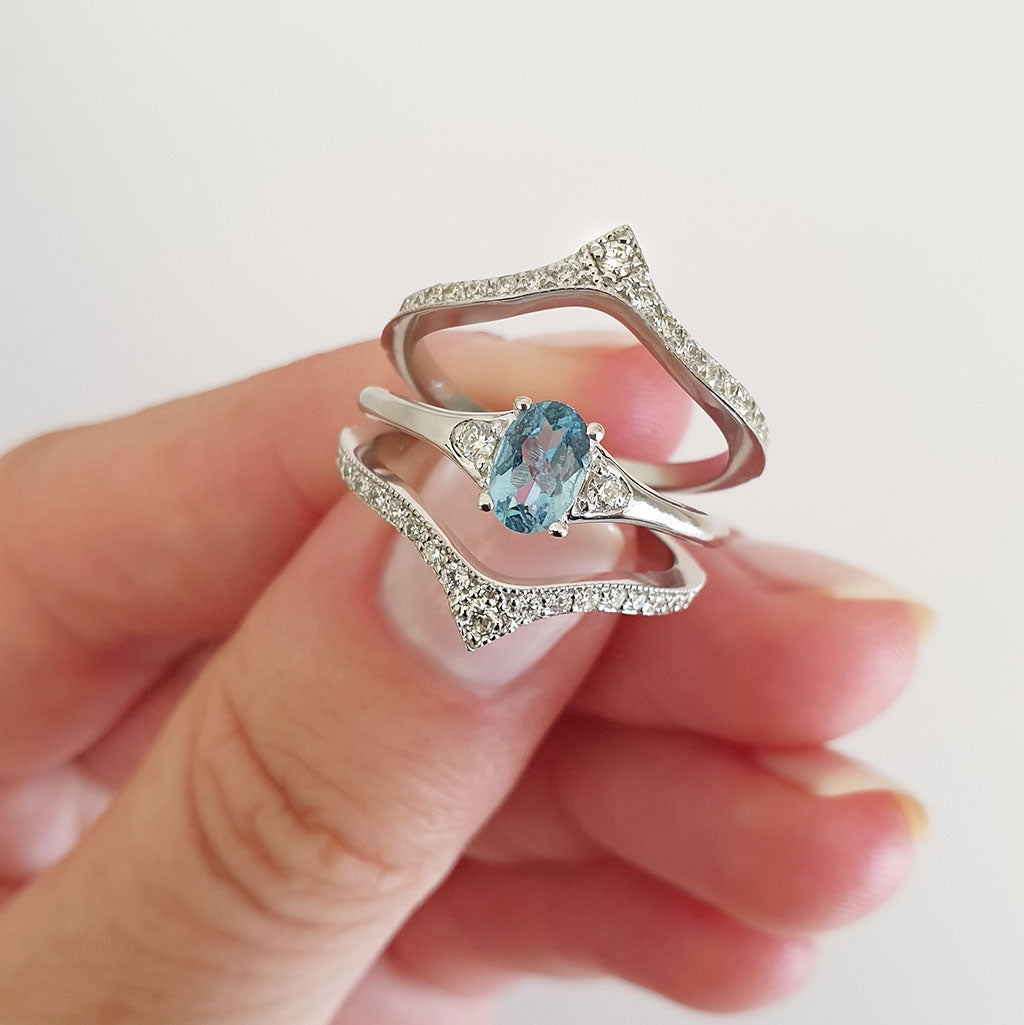 Double Diamond Crown Oval Aquamarine Wedding Band Set