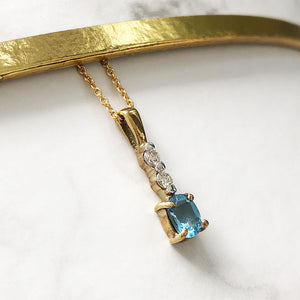 Double Diamond & Blue Topaz Pendant and Chain