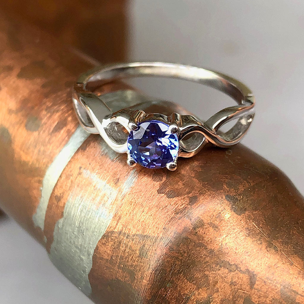 Double Infinity Shoulder Tanzanite Ring