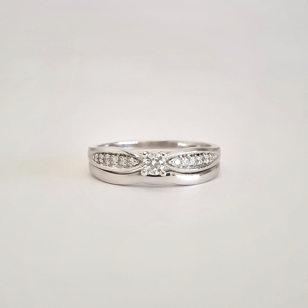 Double White Diamond Shouldered Engagement band and White Gold Wedding Set