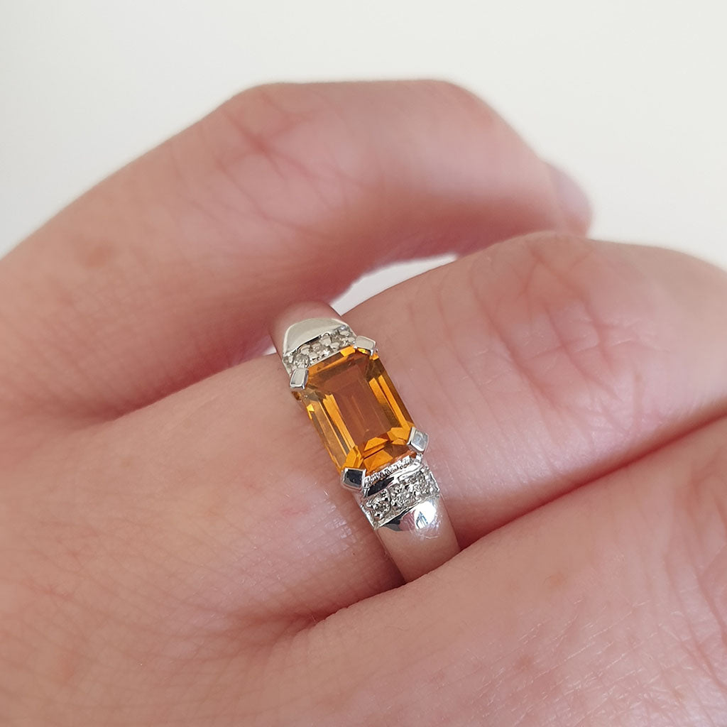 Emerald Cut Citrine Ring with Diamond Accent