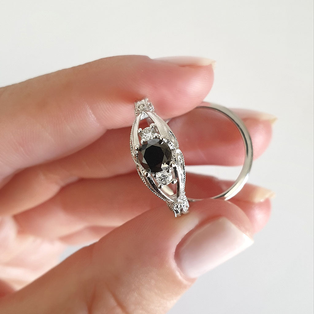Elegant Filigree Round Cut Black and White Diamond Ring with Clean band Wedding Set