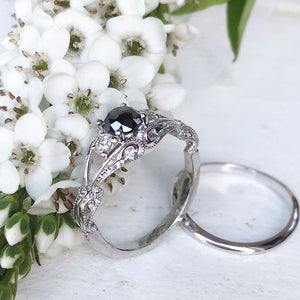 Elegant Filigree Round Cut Black and Whte Diamond Ring with Clean band Wedding Set