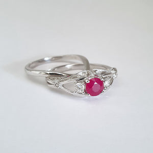 Elegant Filigree Round Cut Ruby and Diamond Ring and Clean band Wedding Set
