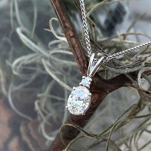 Elegant Hand Crafted Split Bale Oval Diamond Pendant
