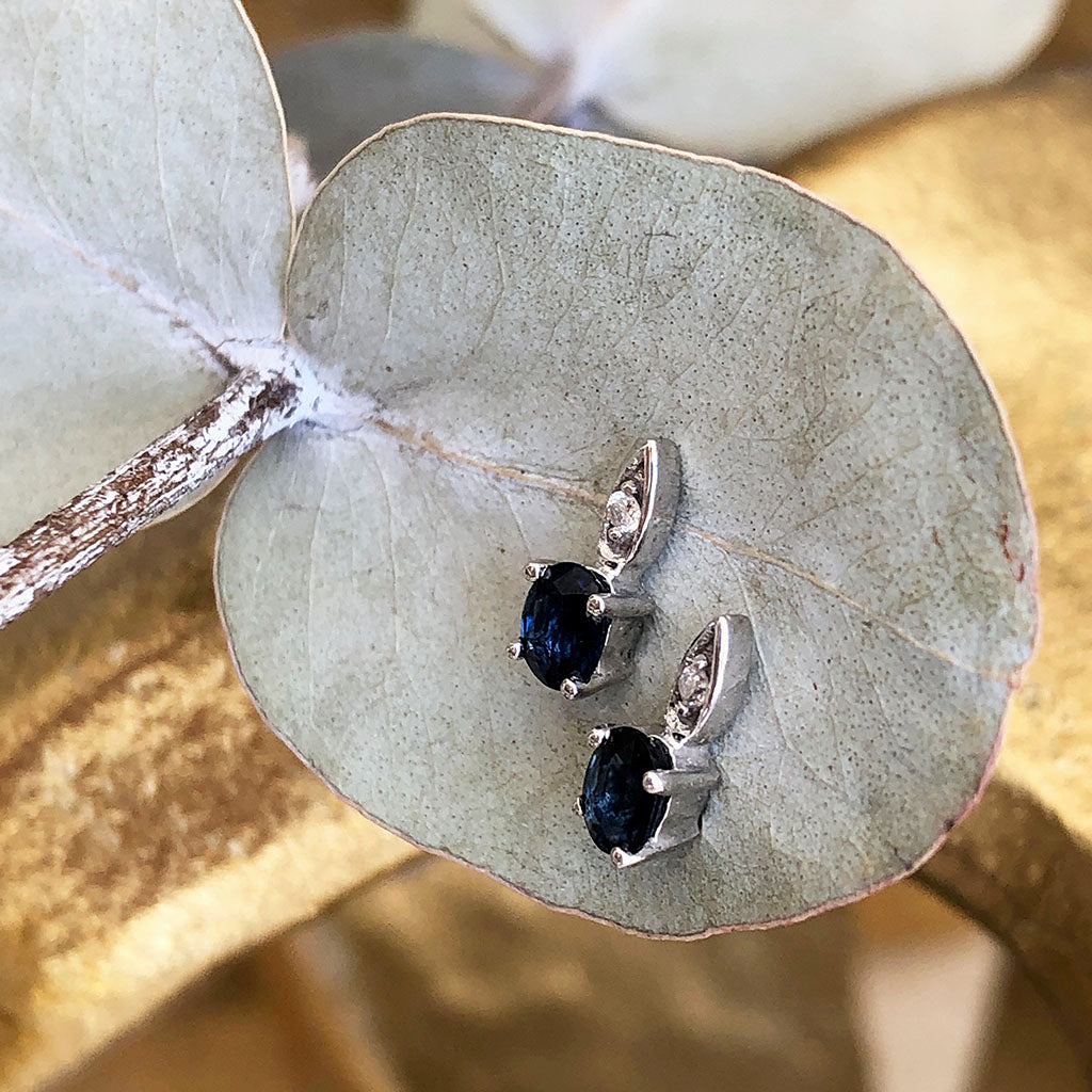 Elegant Oval Blue Sapphire and Diamond Studs
