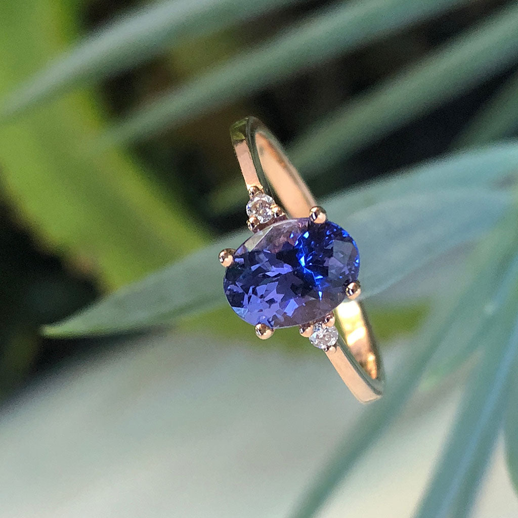Elegant Oval Tanzanite and Petite Diamond Accent Rose Gold Ring