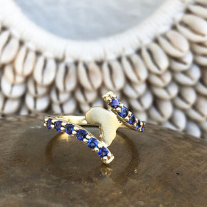 Elegant Twist Yellow Gold Africa Tanzanite Ring