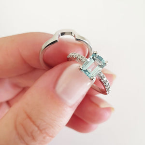 Emerald Cut Aquamarine with Diamond Band Accent and White Gold Wedding Set