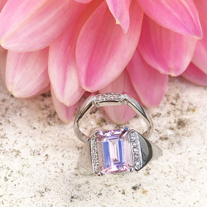 Regal Emerald Cut Morganite and Diamond Accented band Wedding Set