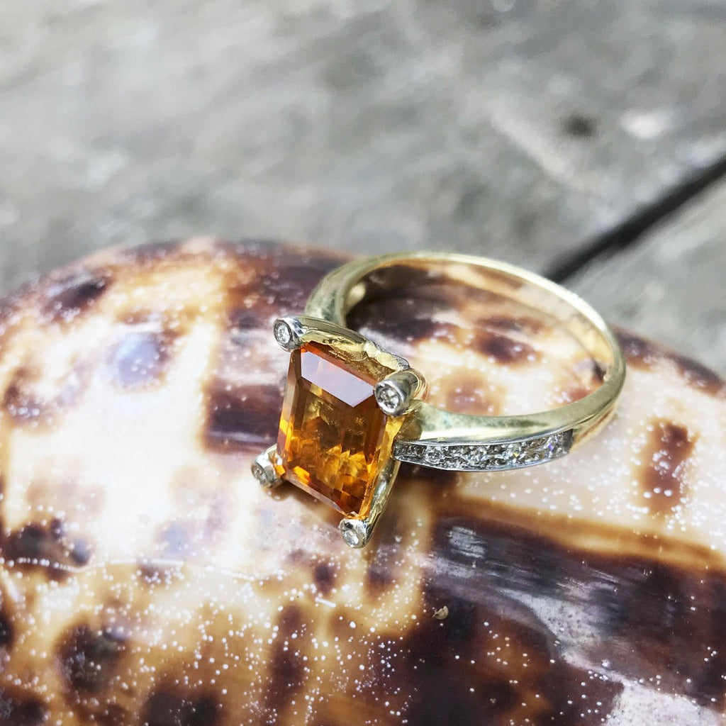 Emerald Cut Citrine with Diamond Claw and Band Accent Ring
