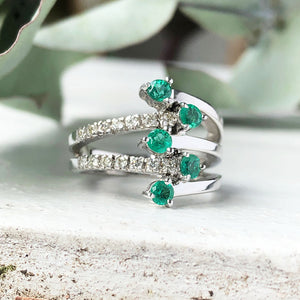 Emerald, Diamond and White Gold Multiband Me Ring Ring
