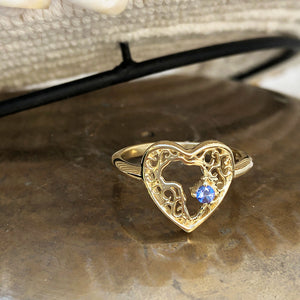 Filigree Heart Africa Tanzanite Ring