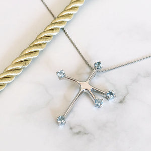Floating Blue Topaz White Gold Southern Cross