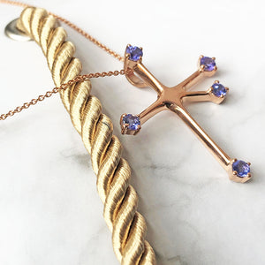 Floating Rose Gold Tanzanite Southern Cross Pendant