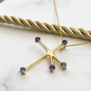 Floating Yellow Gold Tanzanite Southern Cross Pendant