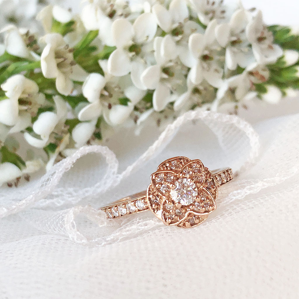Floral Cluster Rose Gold Diamond and half Eternity Wedding Set