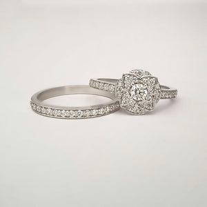 Floral Cluster White Gold Diamond and Half Eternity Wedding Set