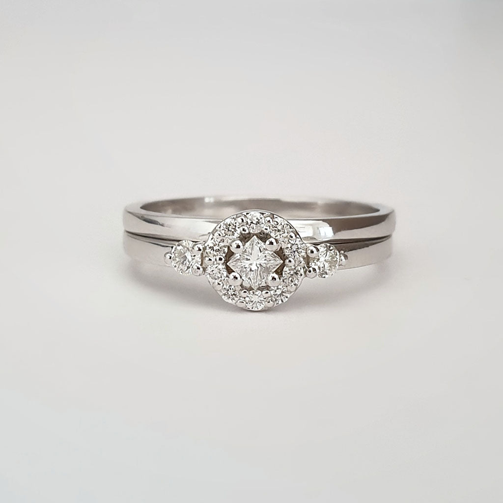 Floral Square Diamond Cluster and White Gold Band Wedding Set