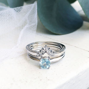 Four Claw Round Aquamarine and Seven Diamond Crown Wedding band Set