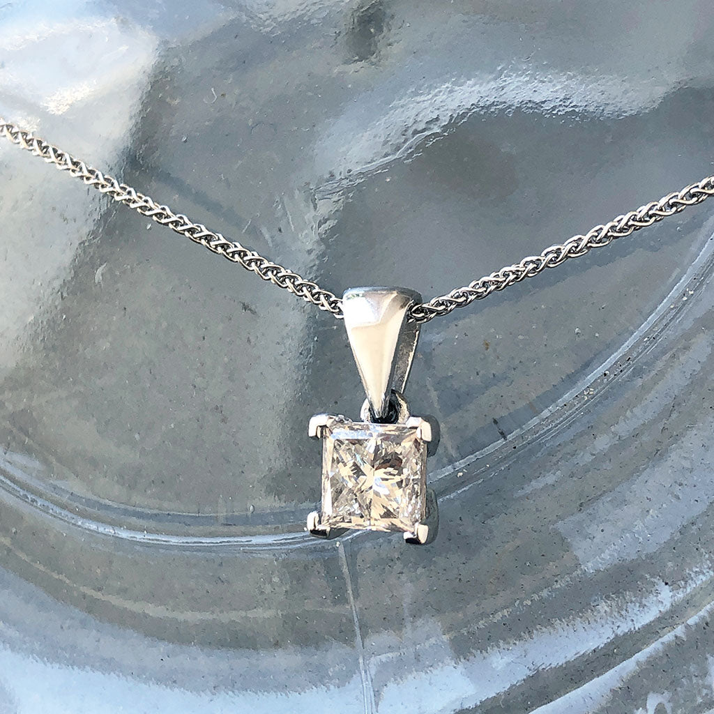 Handcrafted Four Claw Princess Cut Solitaire Diamond Pendant