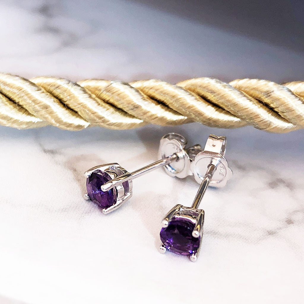 Four Claw White Gold Amethyst Studs