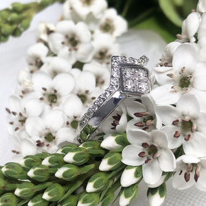 Four White Diamond Square Engagement ring with Diamond V-Pointed Wedding Band Set