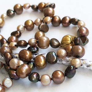 Golden Autumnal Tones Fresh Water Pearl Necklace