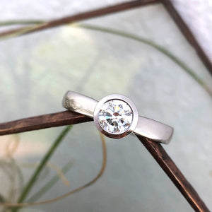 Hand Crafted Bezel Set Solitaire Diamond Ring