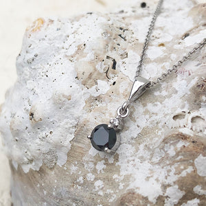 Hand Crafted Black and White Diamond Drop Pendant