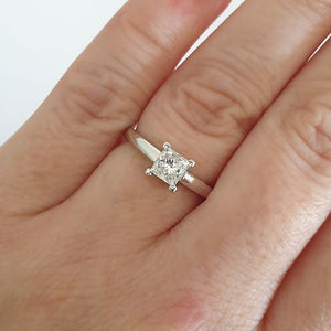 Hand Crafted Princess Cut Solitaire Diamond Ring