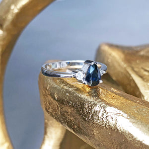 Handcrafted Pear Cut Blue Sapphire with Shoulder Diamond Accent Ring