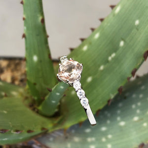 White Gold, Round Cut Morganite Ring with Six Diamond Accent
