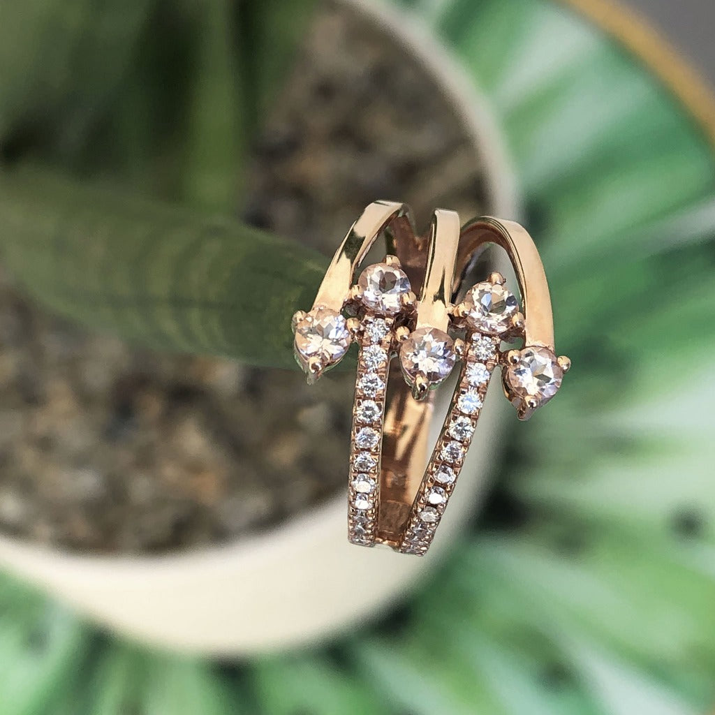 Morganite, Diamond and Rose Gold Multiband Ring