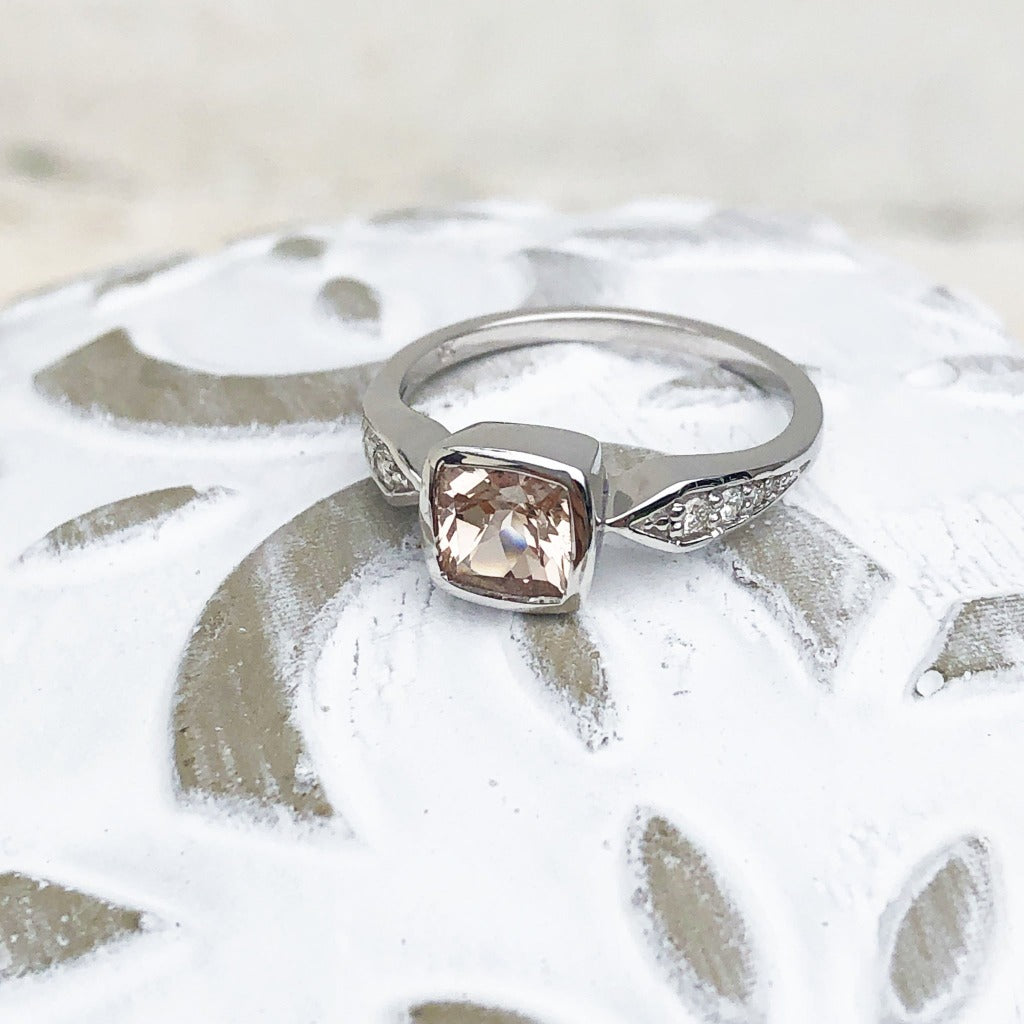 Cushion Cut Morganite Ring with Tapered Diamond Detail Shoulders