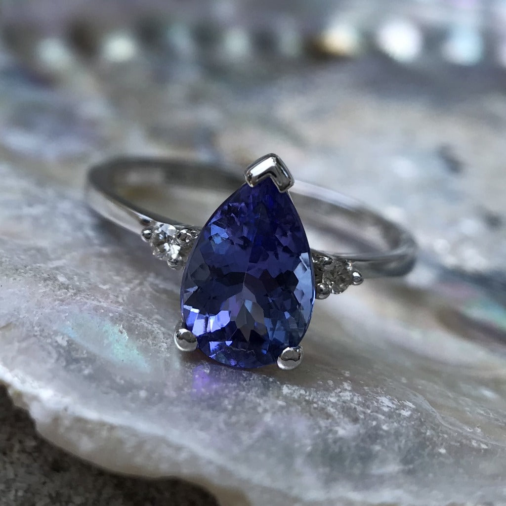 Pear Cut Tanzanite and White Gold Ring