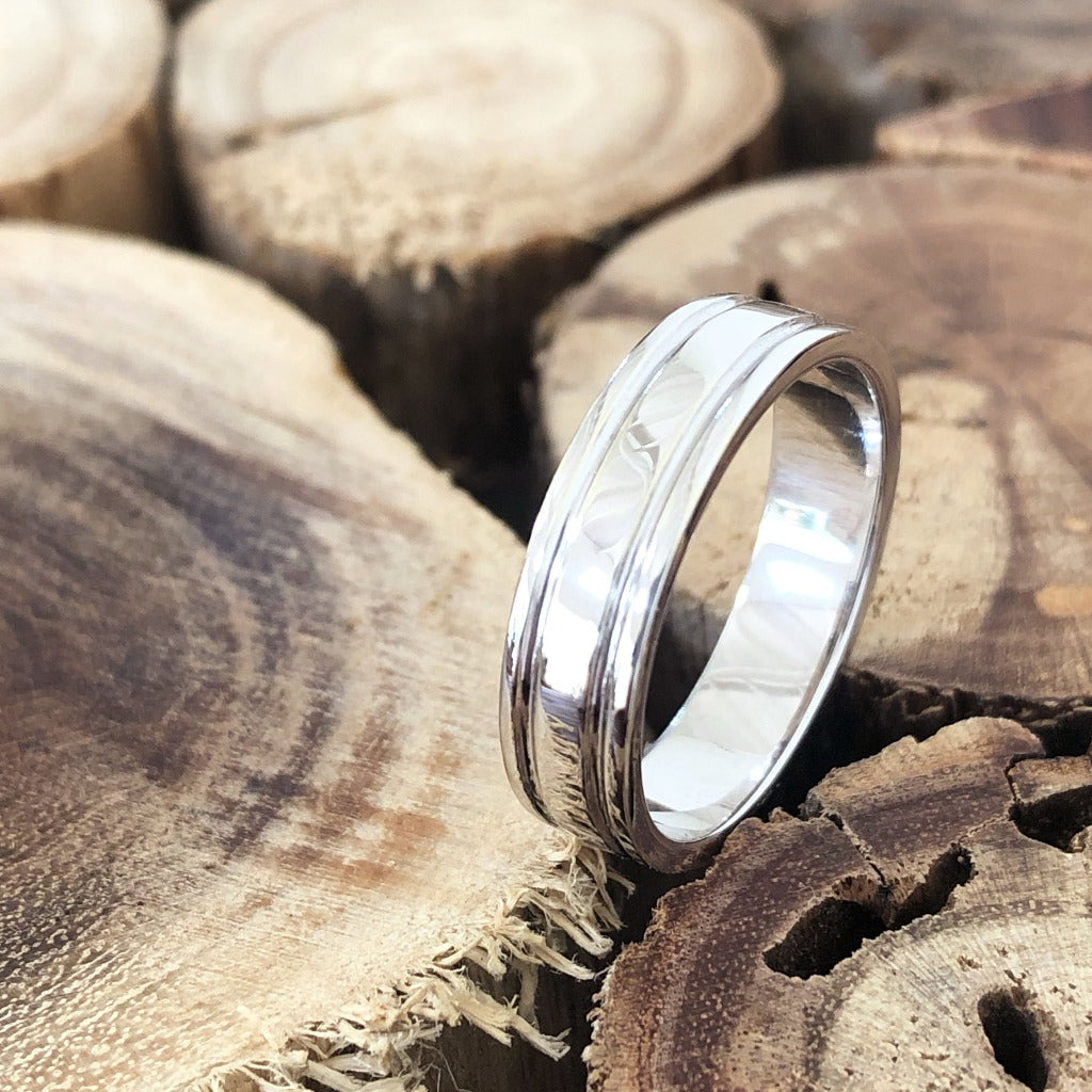 Double Groove White Gold Wedding Band